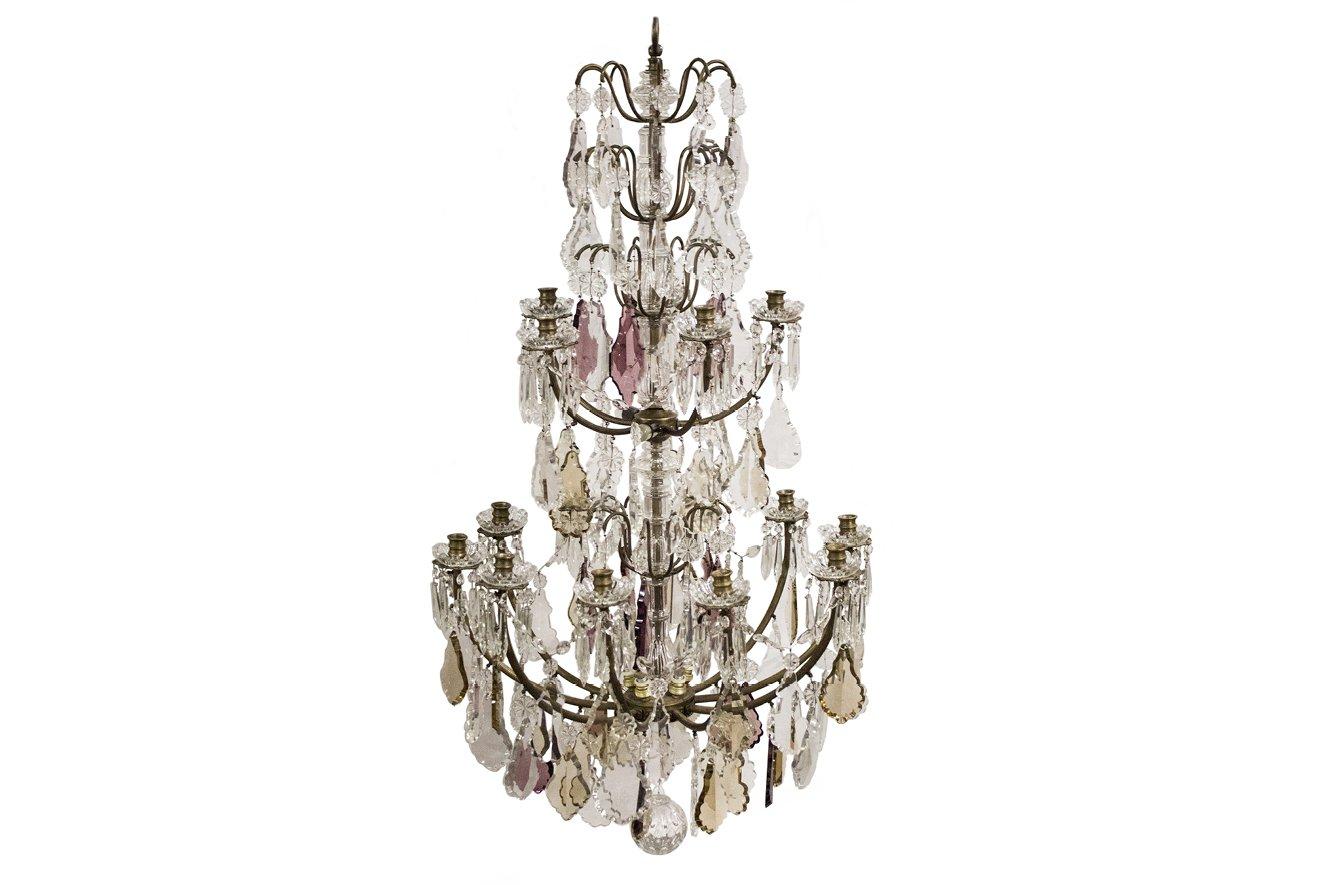 Antiker großer französische Kronleuchter mit Kristallglas Prismen