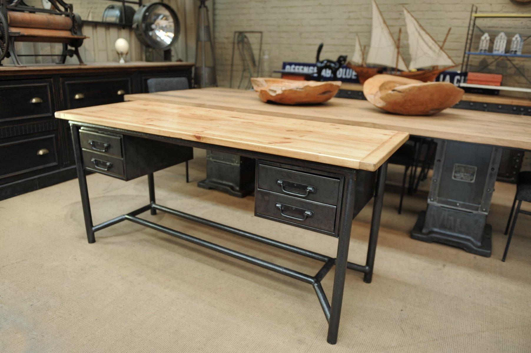 industrieller metall holz schreibtisch von sch fer 1950er bei pamono kaufen. Black Bedroom Furniture Sets. Home Design Ideas