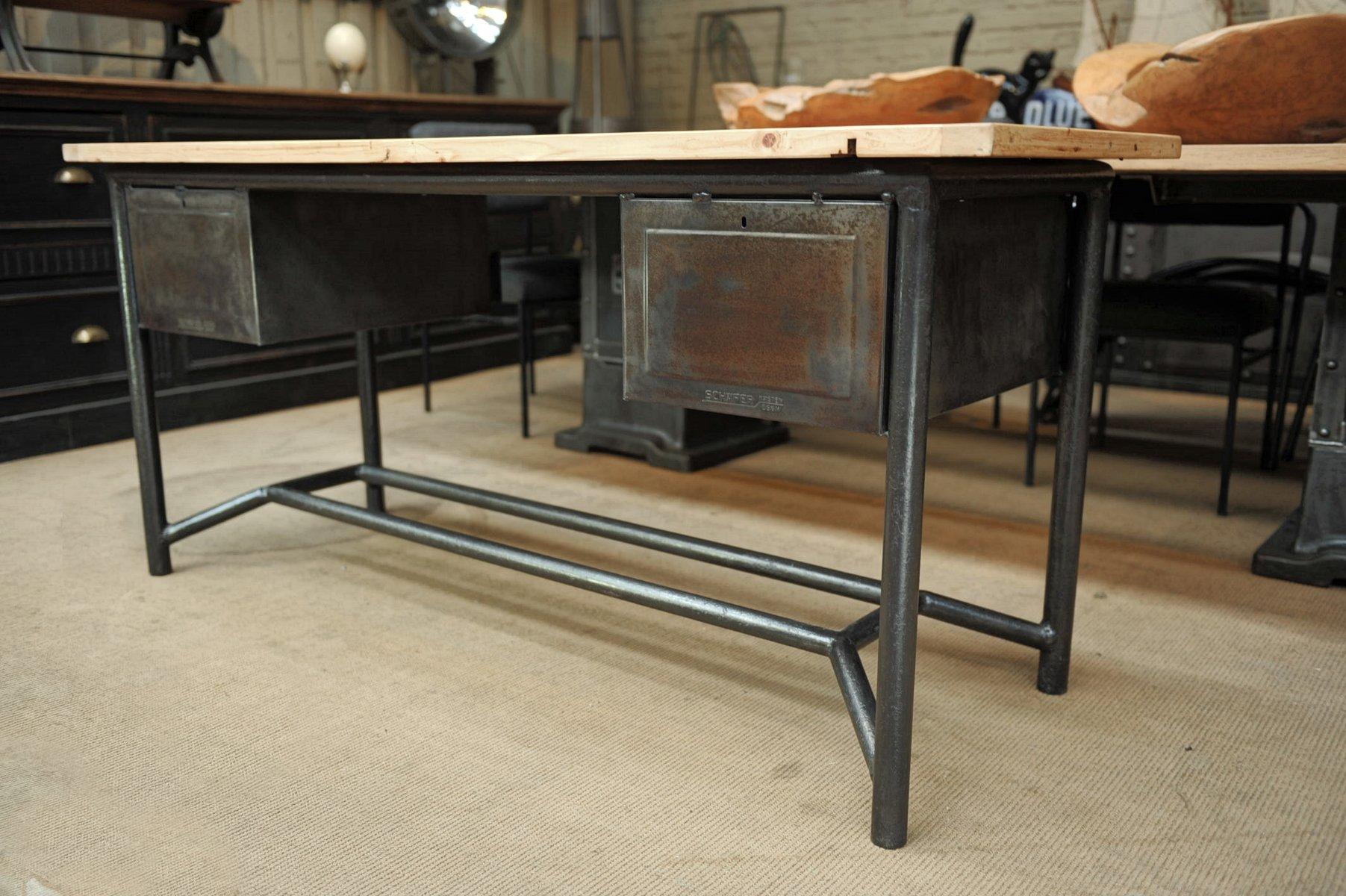 Bureau industriel en m tal et bois de sch fer 1950s en - Bureau metal et bois ...