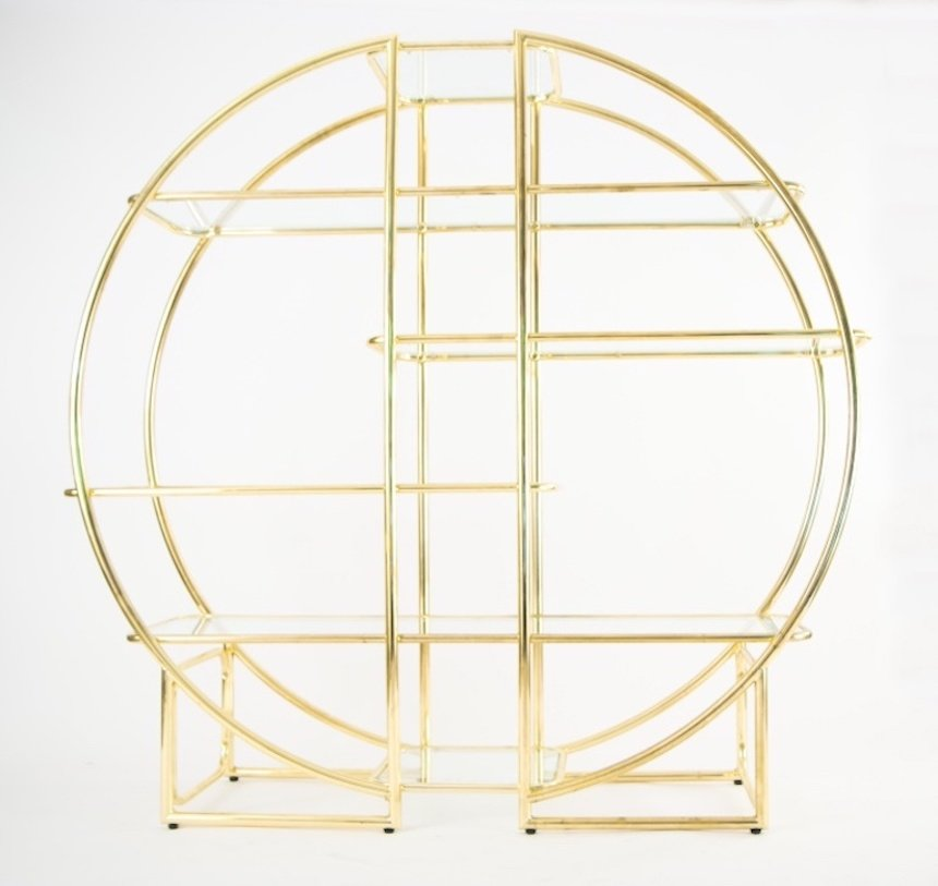 Vintage Circular Brass & Glass Shelving Unit for sale at Pamono