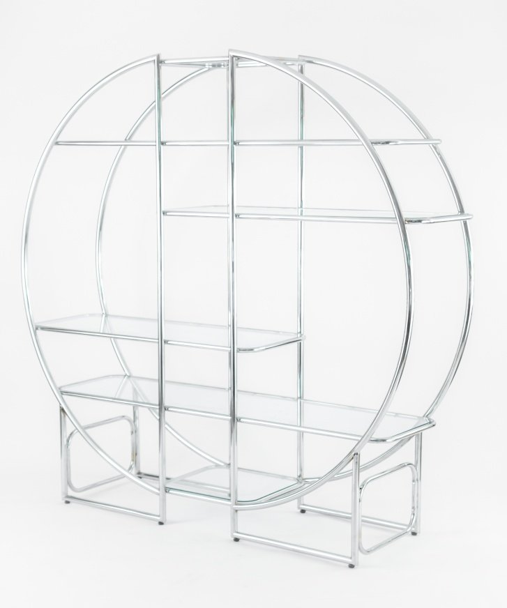 Mid-Century Circular Chrome Etagere with Glass Display Shelves for ...
