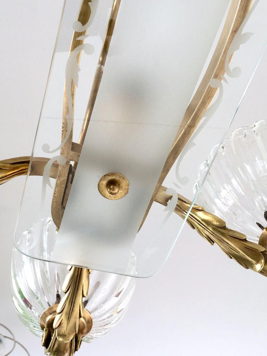 gro er kronleuchter aus mundgeblasenem glas messing von ercole barovier 1940er bei pamono kaufen. Black Bedroom Furniture Sets. Home Design Ideas