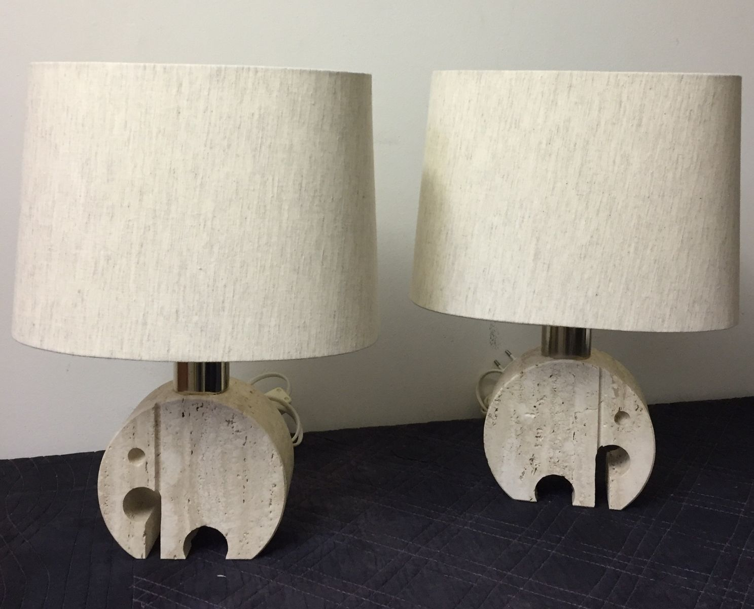 Travertine Elephant Table Lamps By Fratelli Mannelli, 1970s, Set Of 2