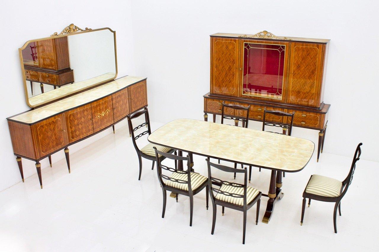 italienischer mid century tisch 6 st hle von fratelli. Black Bedroom Furniture Sets. Home Design Ideas