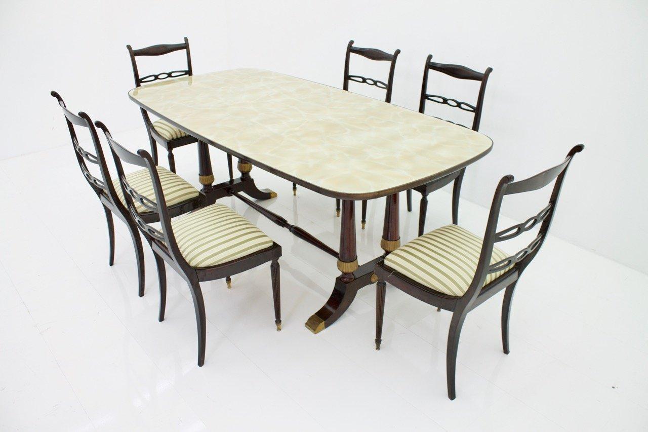 italienischer mid century tisch 6 st hle von fratelli strada bei pamono kaufen. Black Bedroom Furniture Sets. Home Design Ideas