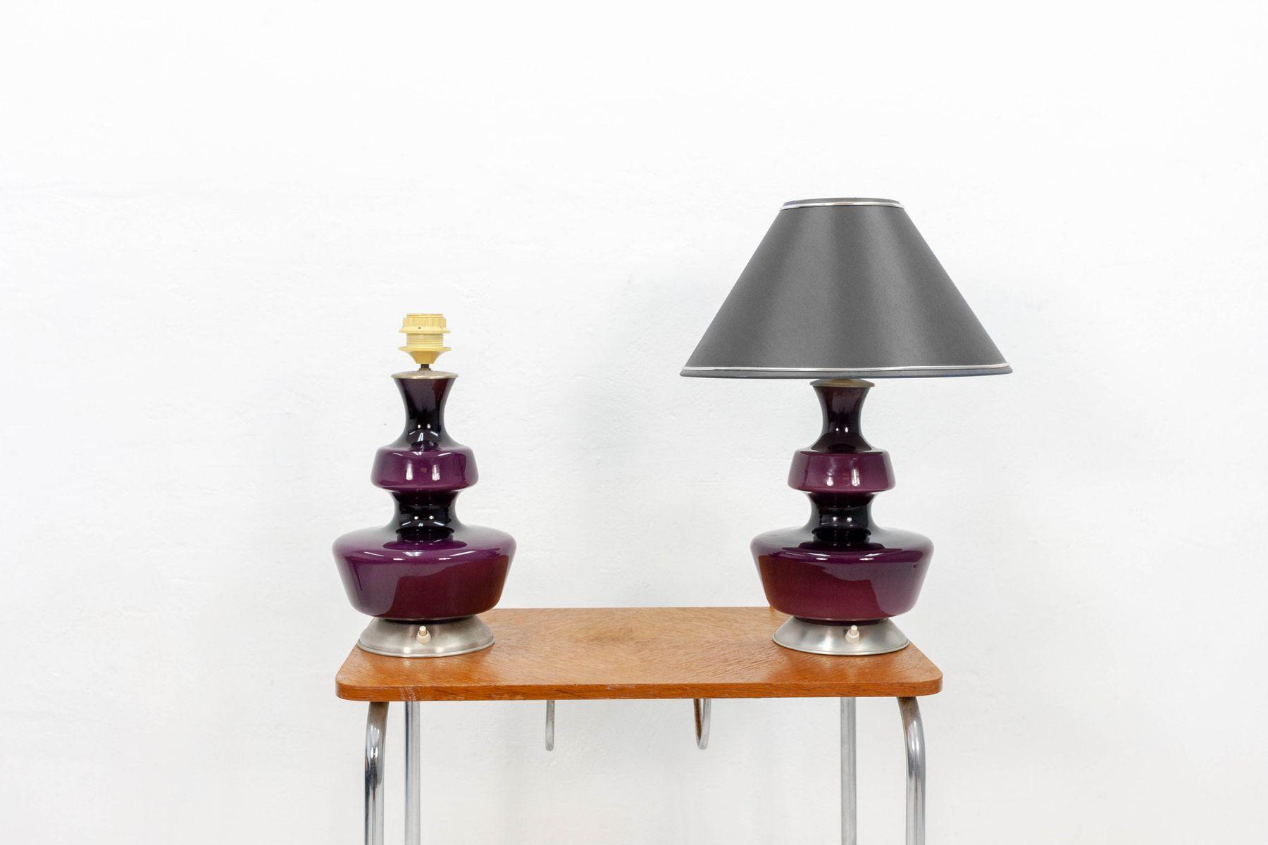 Lampada Scrivania Viola : Lampade da tavolo viola di holmegaard anni 60 set di 2 in vendita