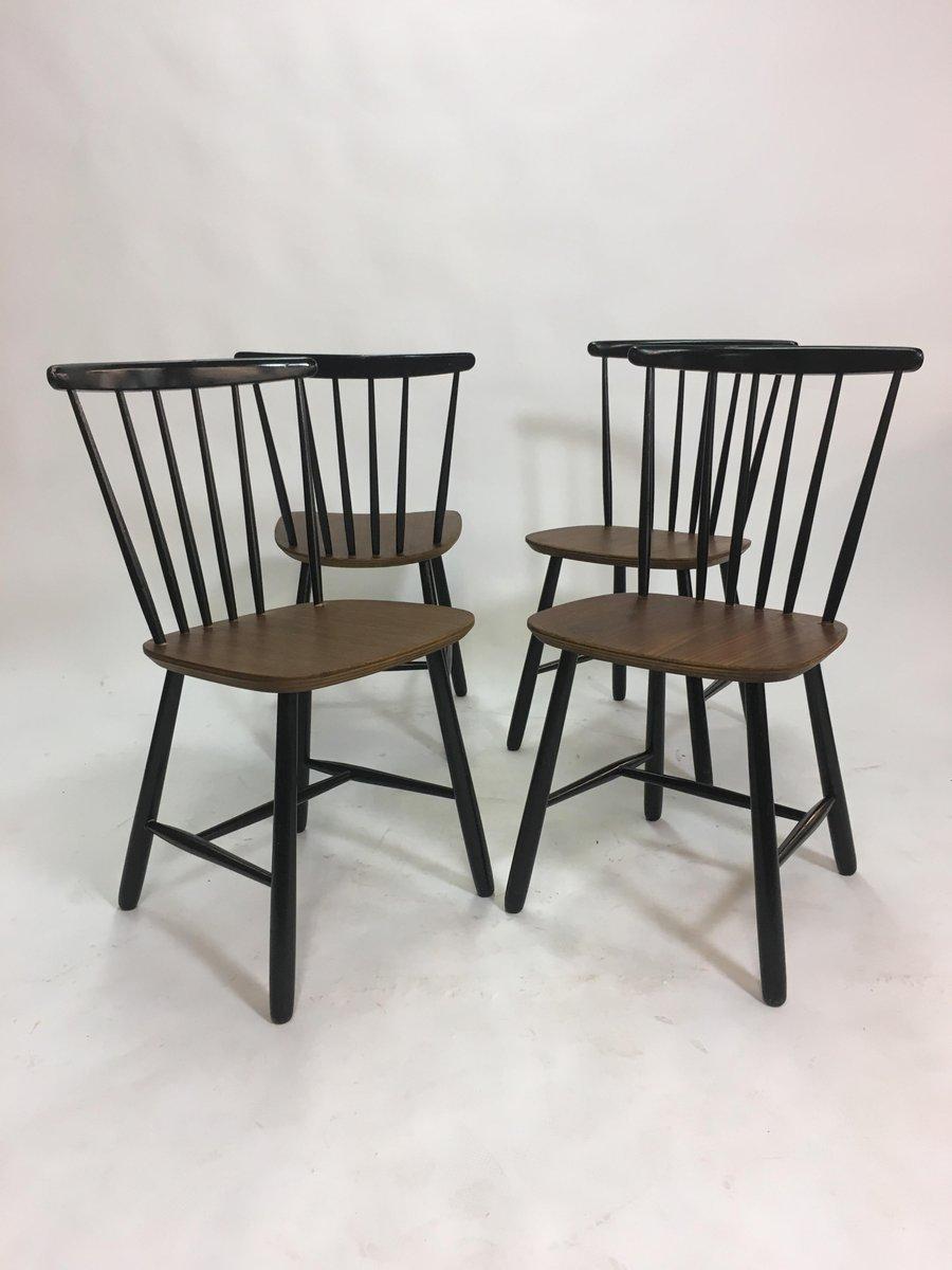 Chaises De Salon A Barreaux Scandinaves Vintage 1950s Set 4