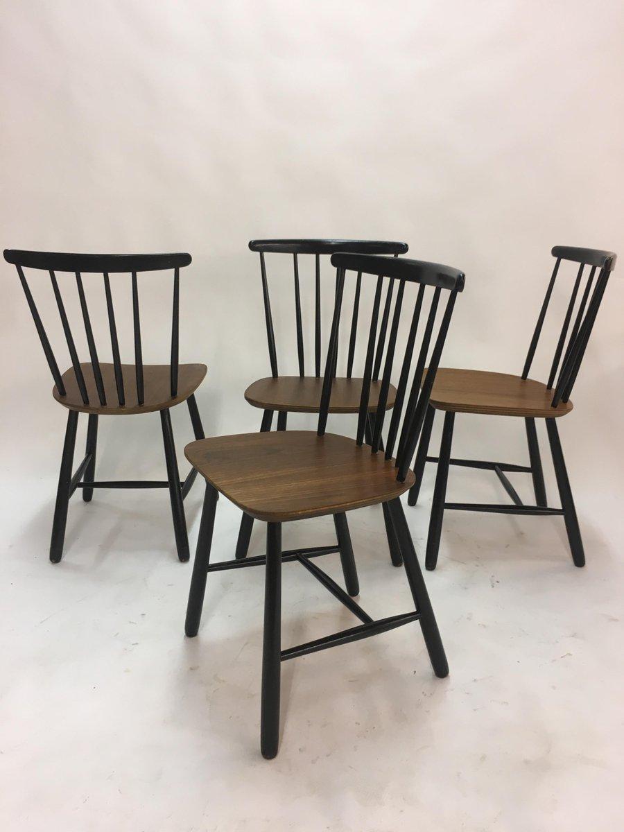 skandinavische vintage esszimmerst hle mit holzspeichen 1950er 4er set bei pamono kaufen. Black Bedroom Furniture Sets. Home Design Ideas