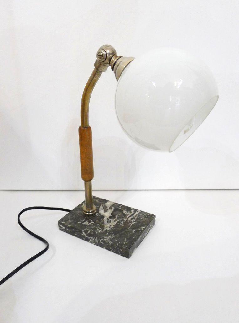 Vintage Schreibtischlampe mit Opalglas Kugel
