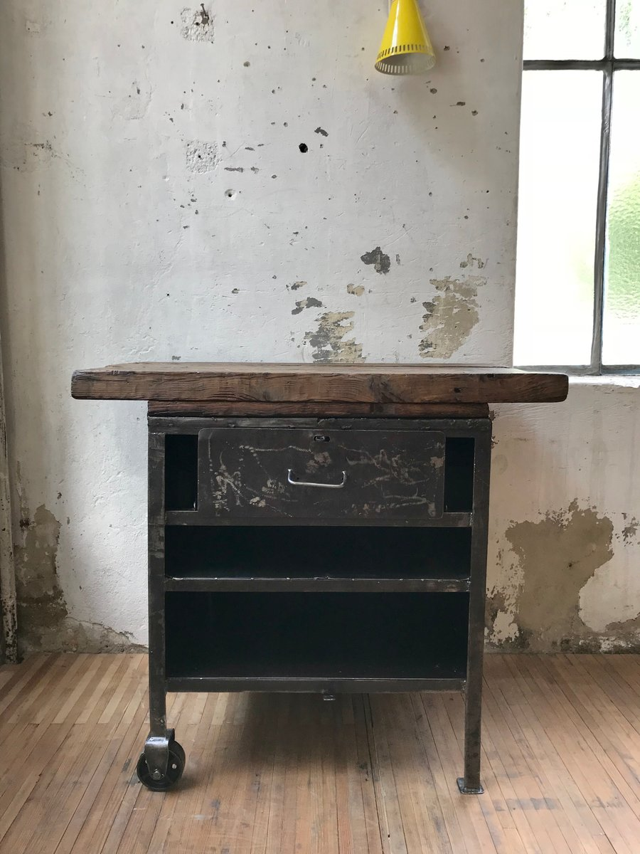 vintage holz metall konsolentisch bei pamono kaufen. Black Bedroom Furniture Sets. Home Design Ideas
