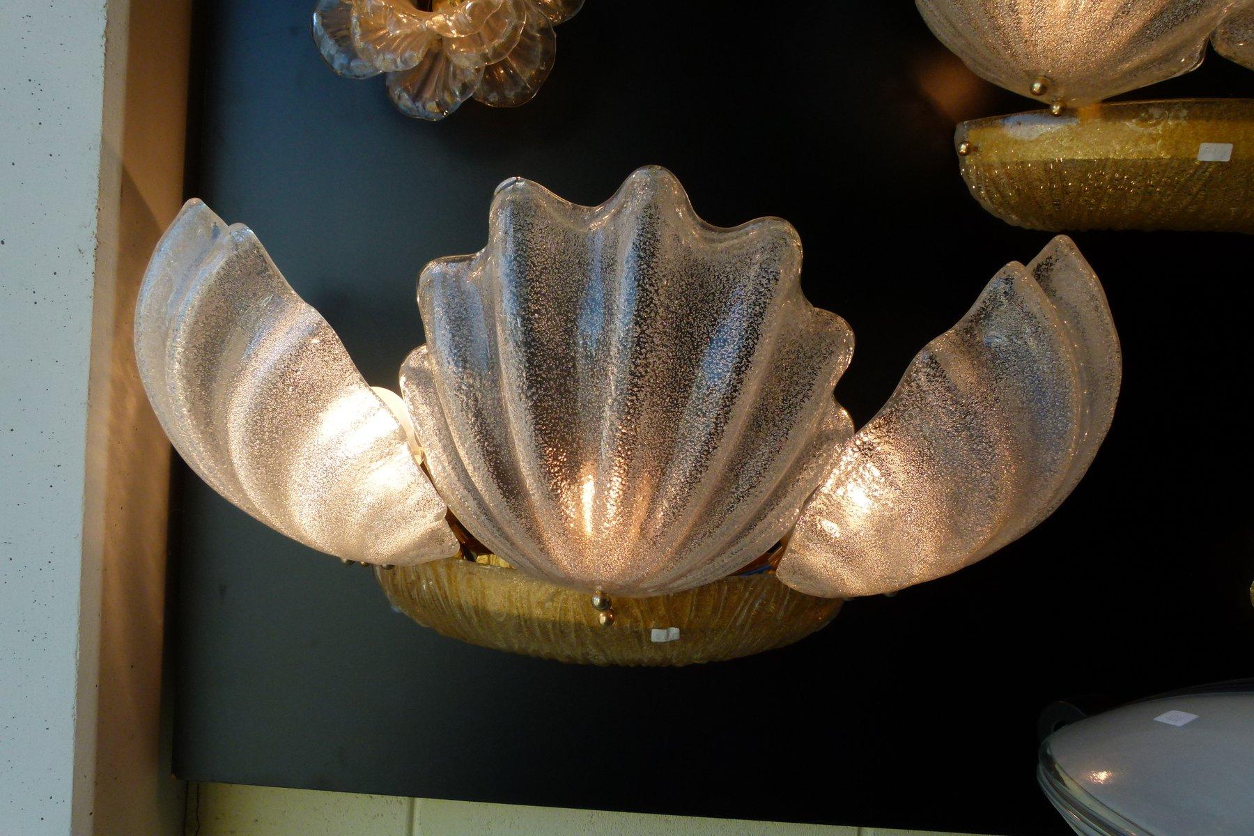 Murano Glas Shell Wandlampen, 1980er, 2er Set