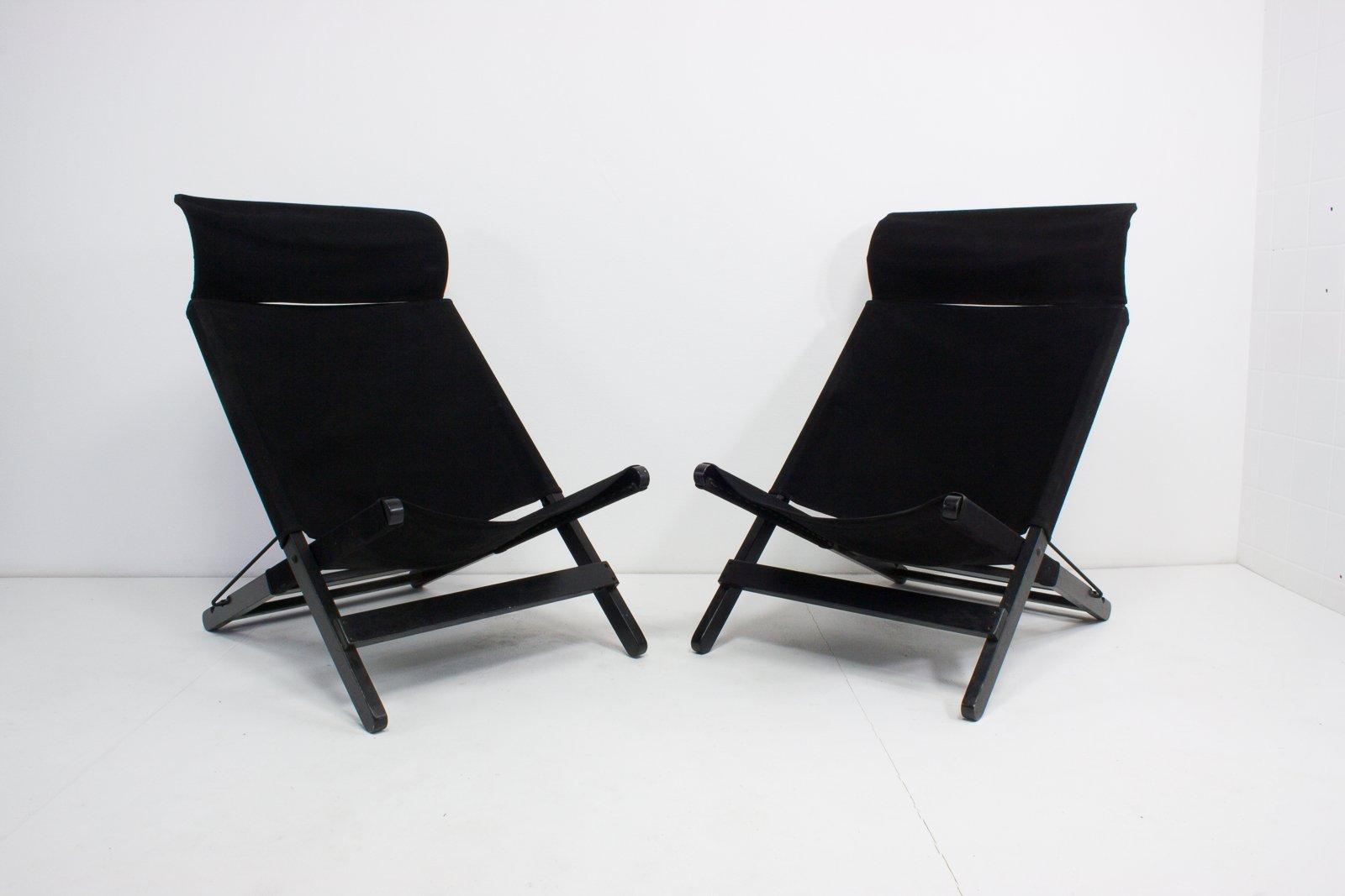 Sillas Plegables Vintage De Lona Negra Juego De 2 En Venta En Pamono - Sillas-de-lona-plegables