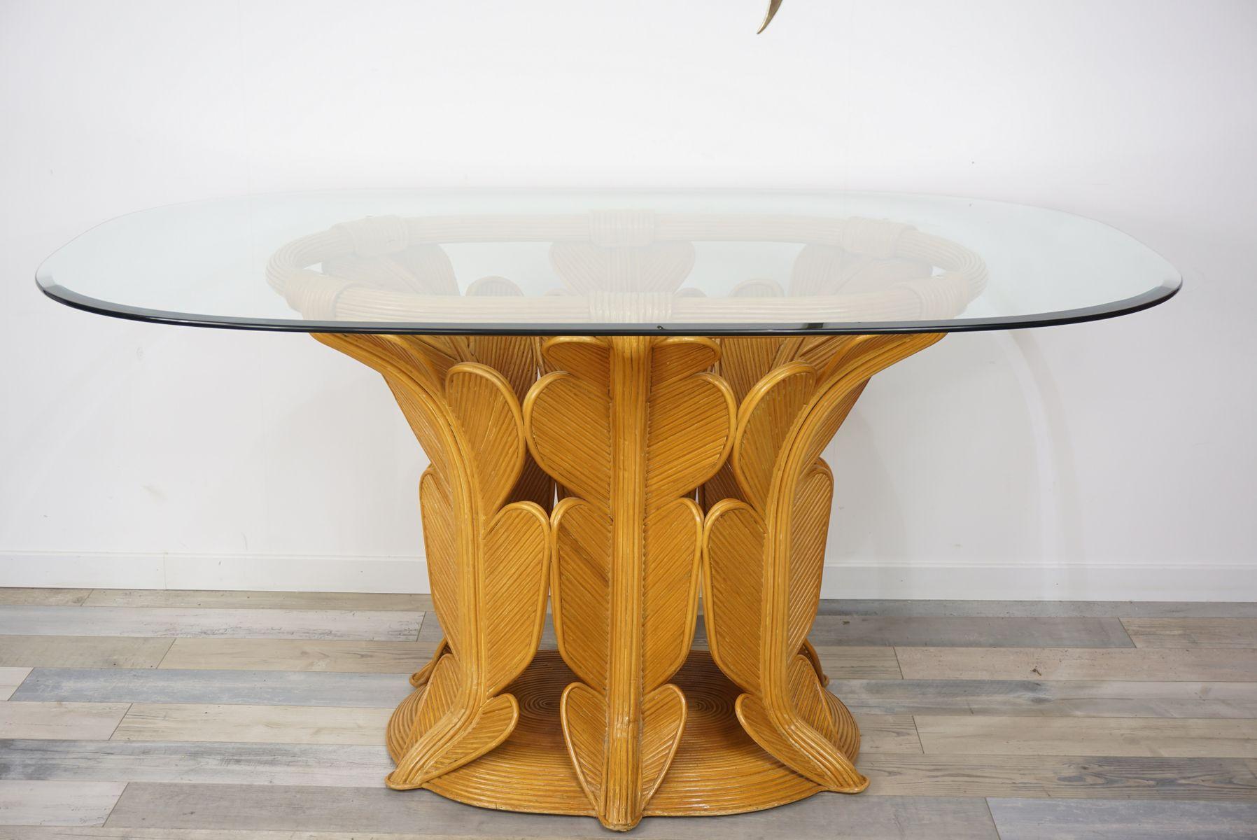 esstisch aus rattan abgeschr gtem glas 1970er bei pamono kaufen. Black Bedroom Furniture Sets. Home Design Ideas
