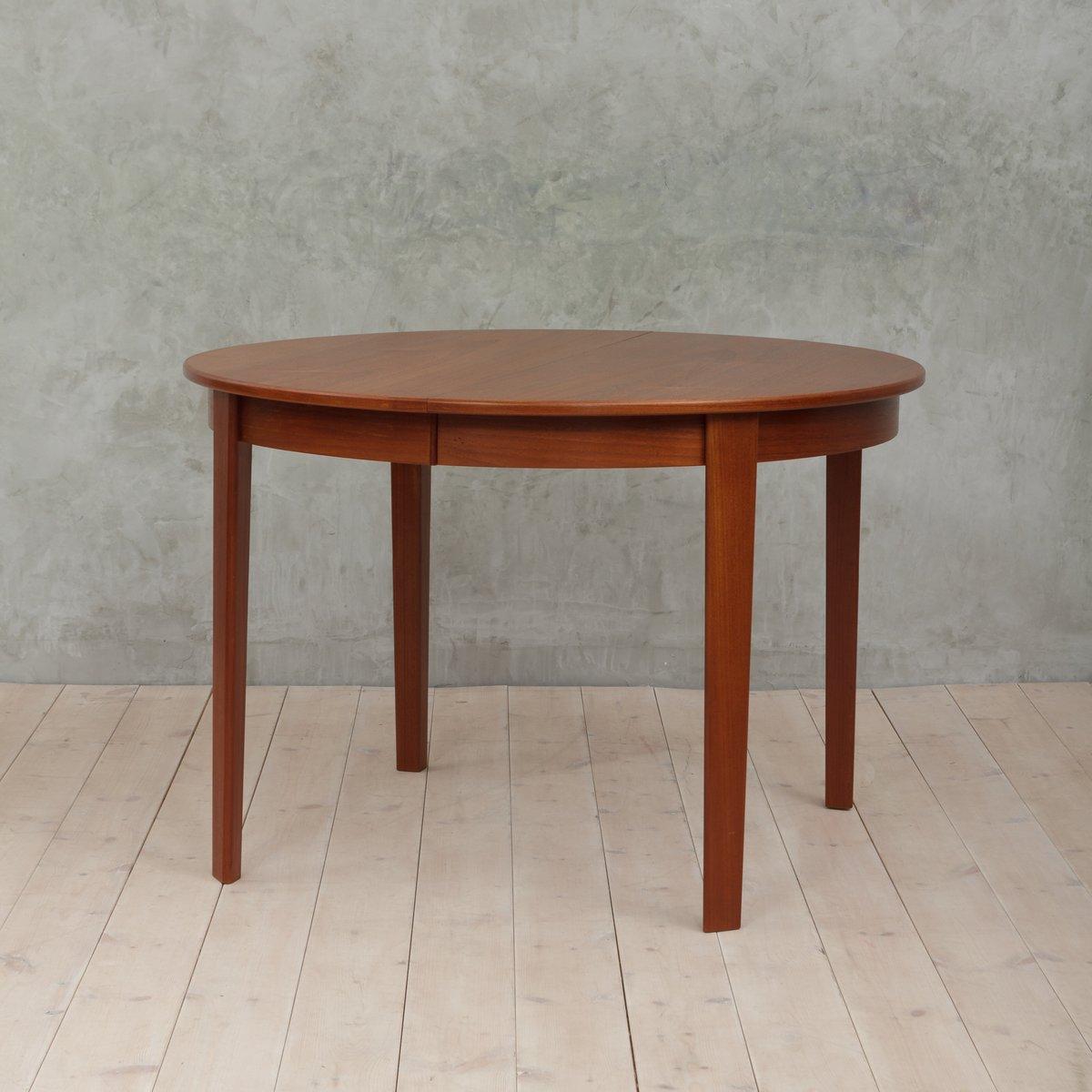 Tavolo rotondo allungabile in teak, Danimarca, anni \'60 in vendita ...