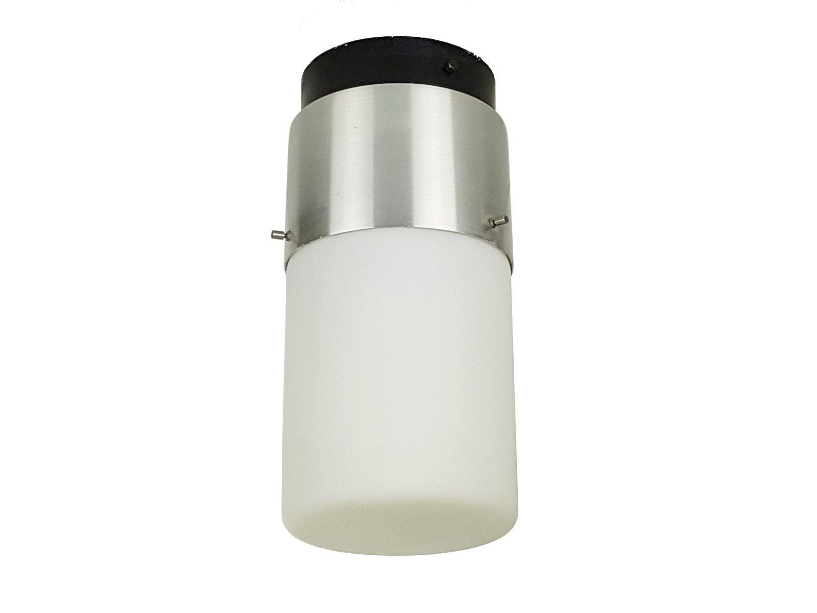 Zylinderförmiger Deckenfluter aus Opalglas, Aluminium & schwarzem Meta...