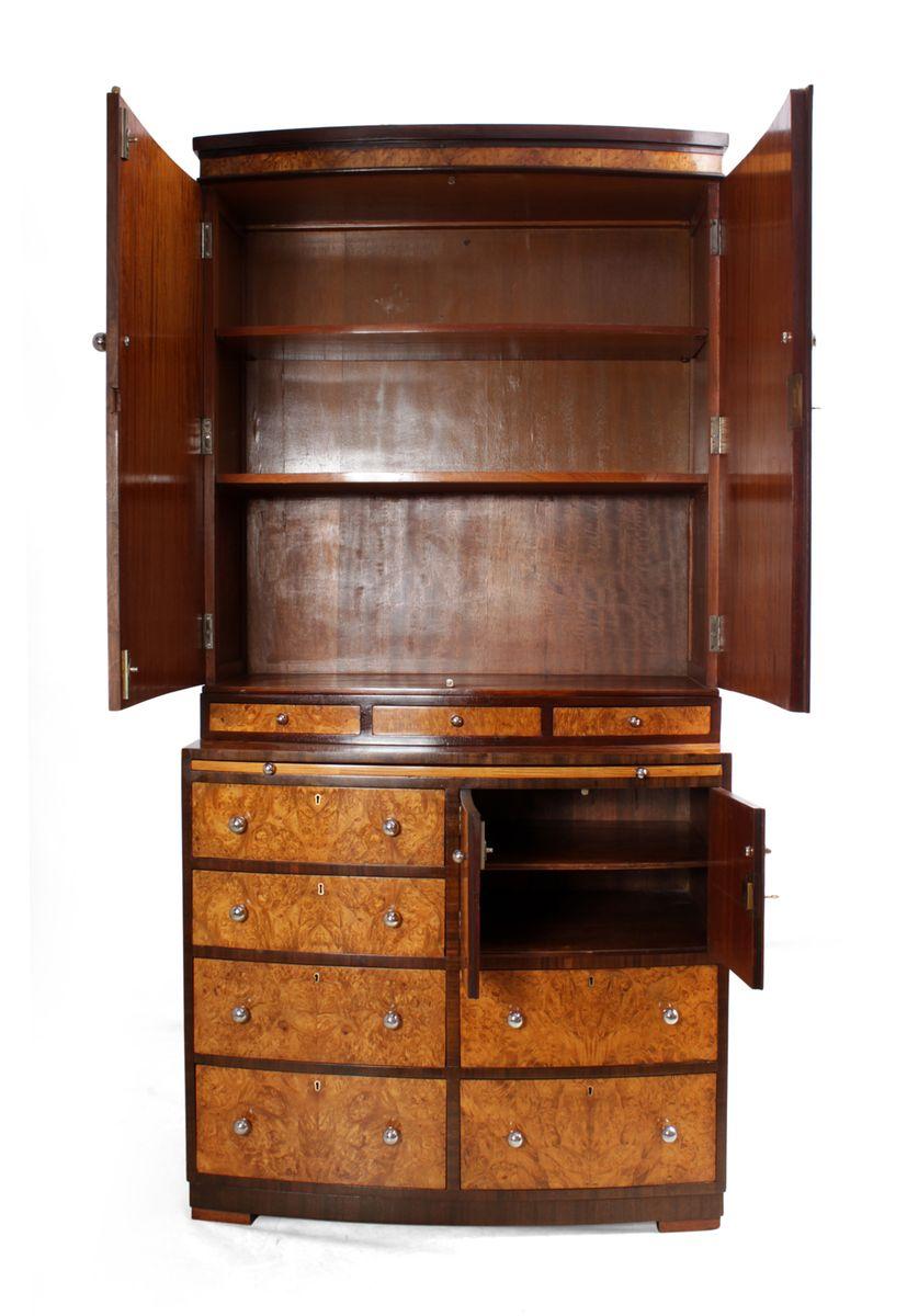 art deco ahorn wurzelholz schrank mit b cherregal und schubladen bei pamono kaufen. Black Bedroom Furniture Sets. Home Design Ideas