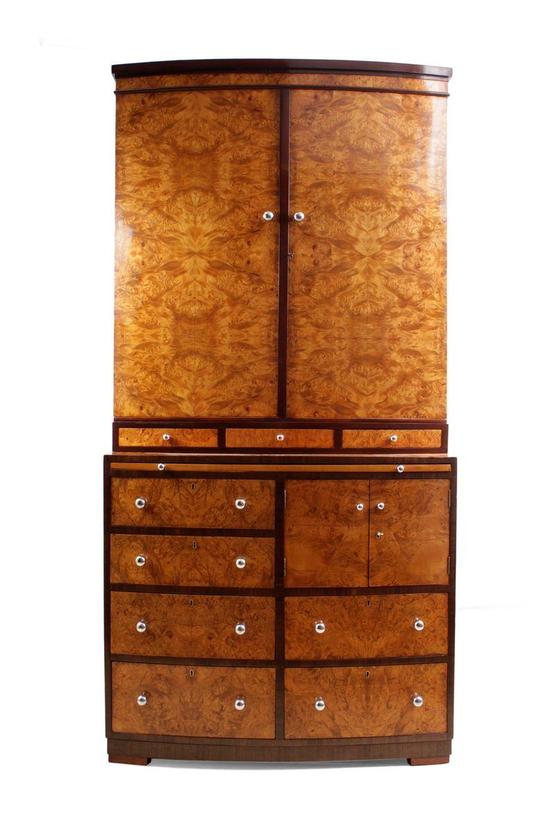 Mueble Art Déco de madera nudosa de arce con cajones y librería en ...