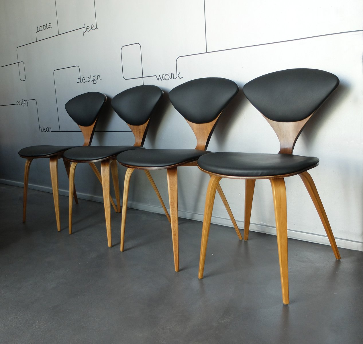 Vintage Plywood Chairs By Norman Cherner For Plycraft, Set Of 4