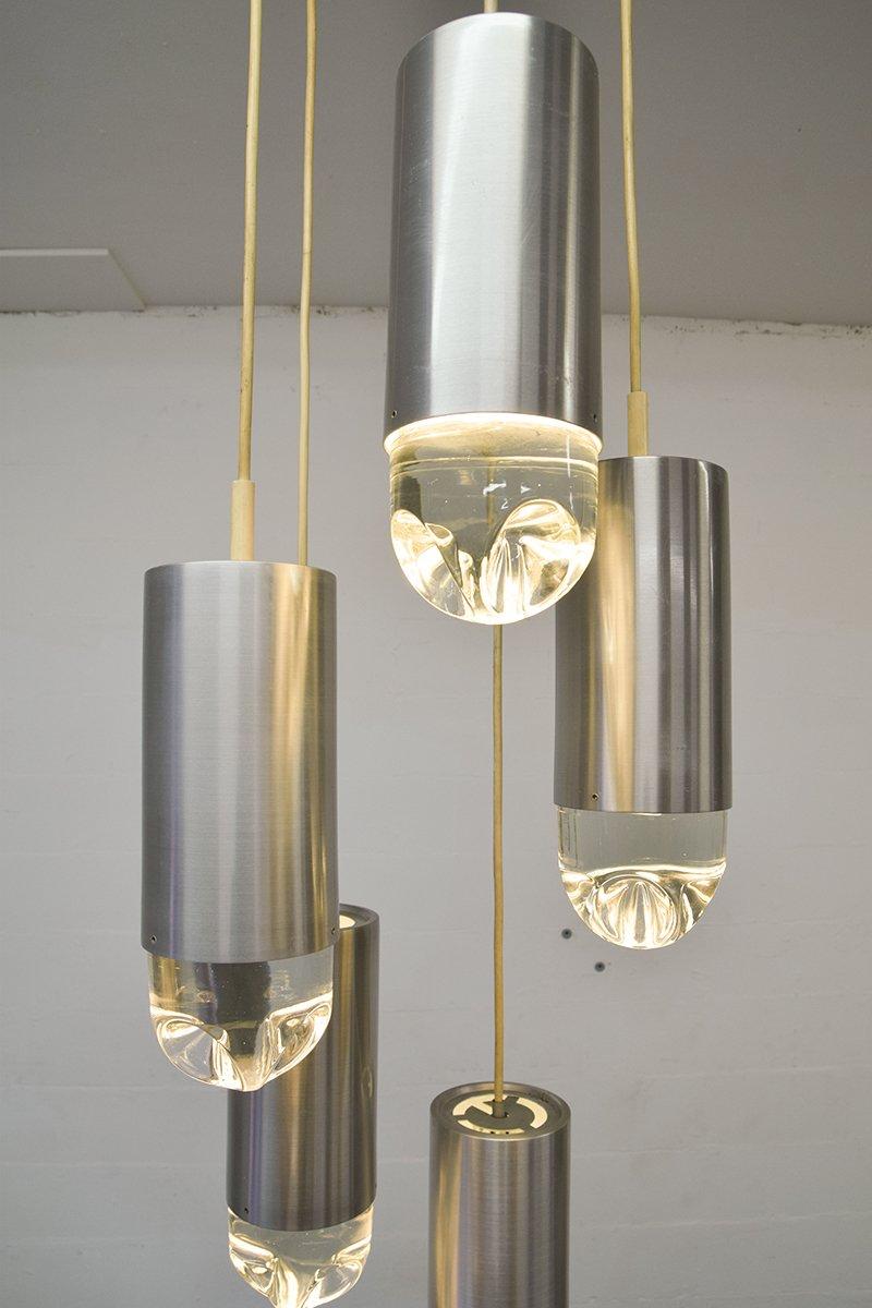 kronleuchter aus geb rstetem stahl glas von raak 1960er bei pamono kaufen. Black Bedroom Furniture Sets. Home Design Ideas