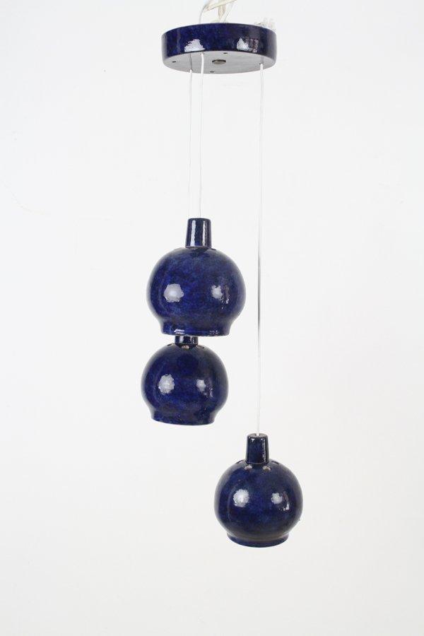 Indigo Keramik Kronleuchter, 1970er