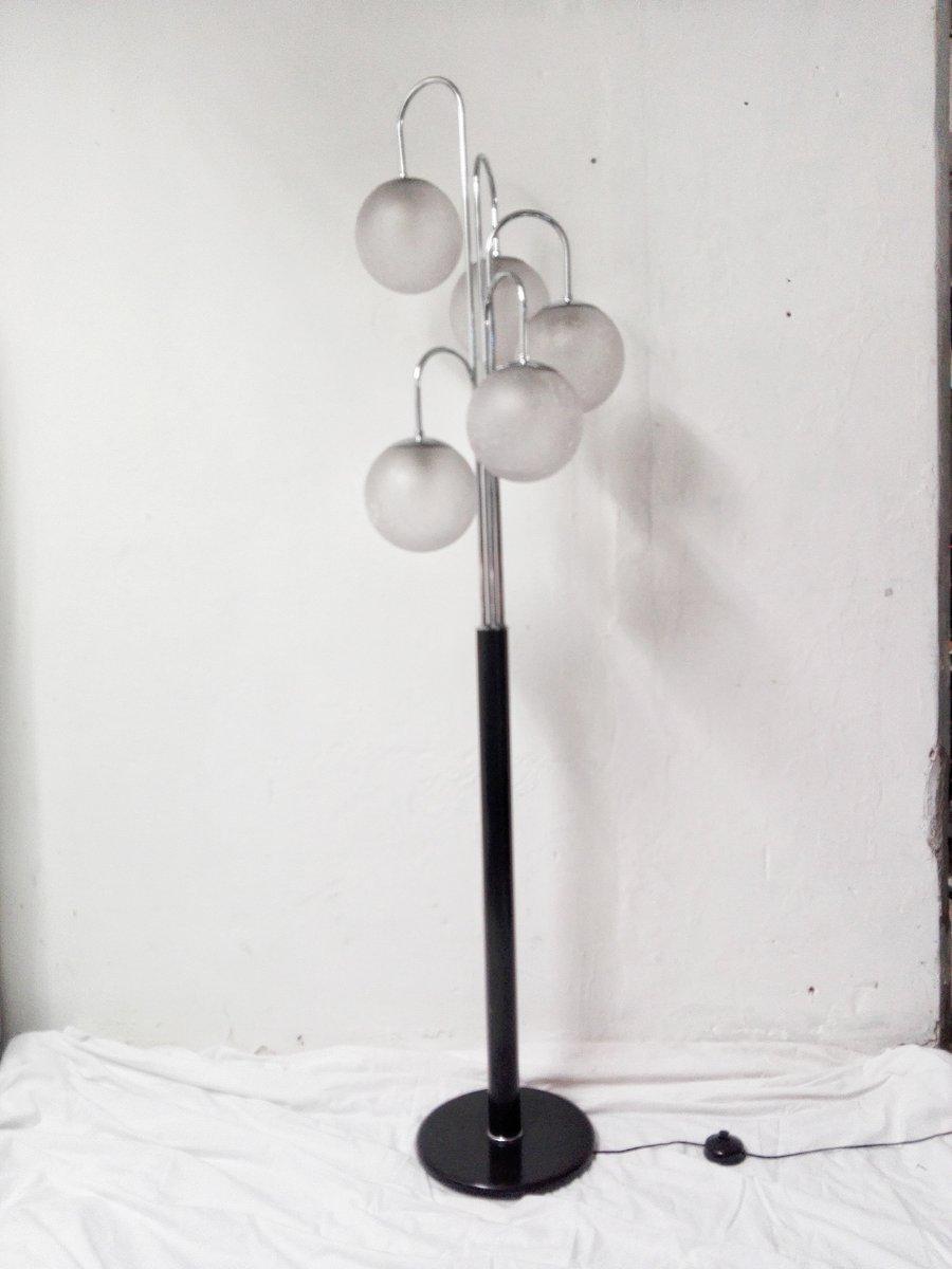 Vintage Stehlampe in Schwarz & Silber