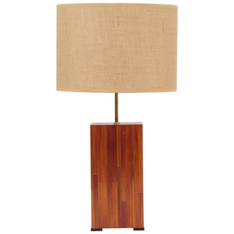 Französische Mid-Century Lampe aus Stroh mit Intarsie