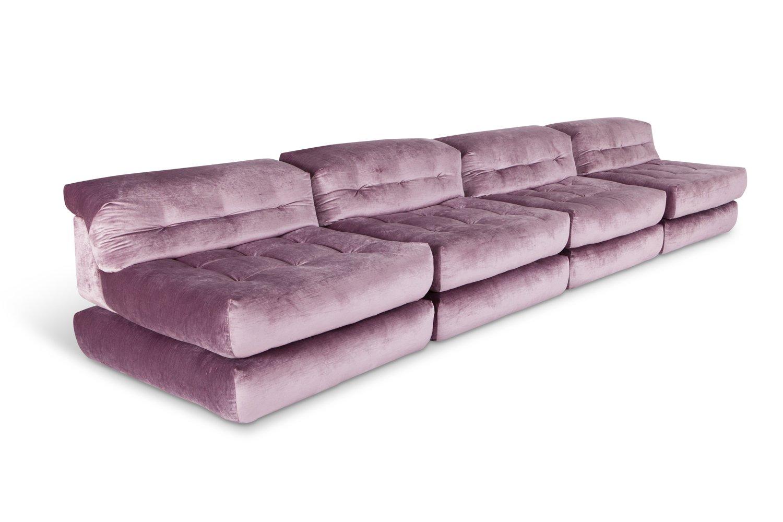 Roche Bobois Sofa Mah Jong: Mah Jong Modular Sofa In Purple Velvet By Hans Hopfer