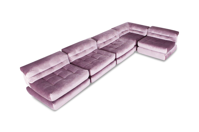 Mah Jong Modular Sofa in Purple Velvet by Hans Hopfer ...