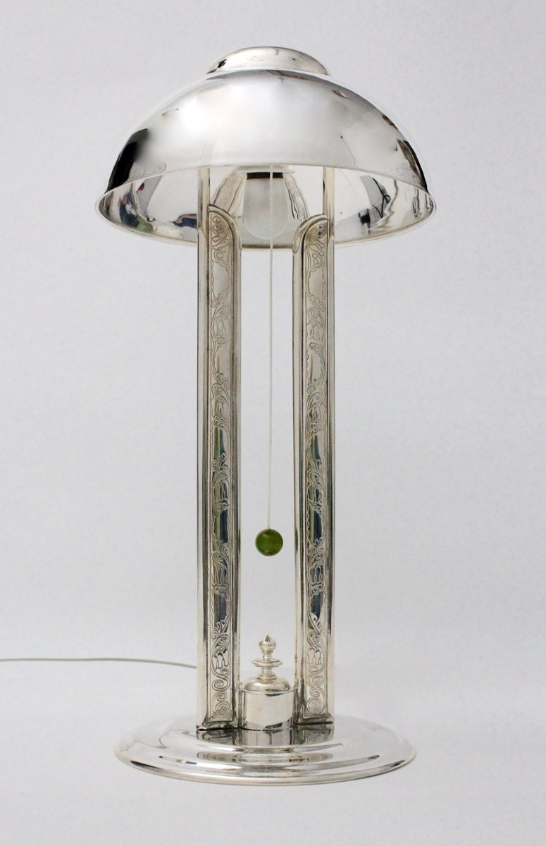 Versilberte Messing Tischlampe, 1920er