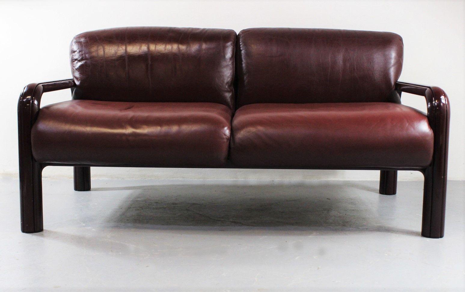 2 sitzer leder sofa von gae aulenti f r knoll 1970er bei pamono kaufen. Black Bedroom Furniture Sets. Home Design Ideas