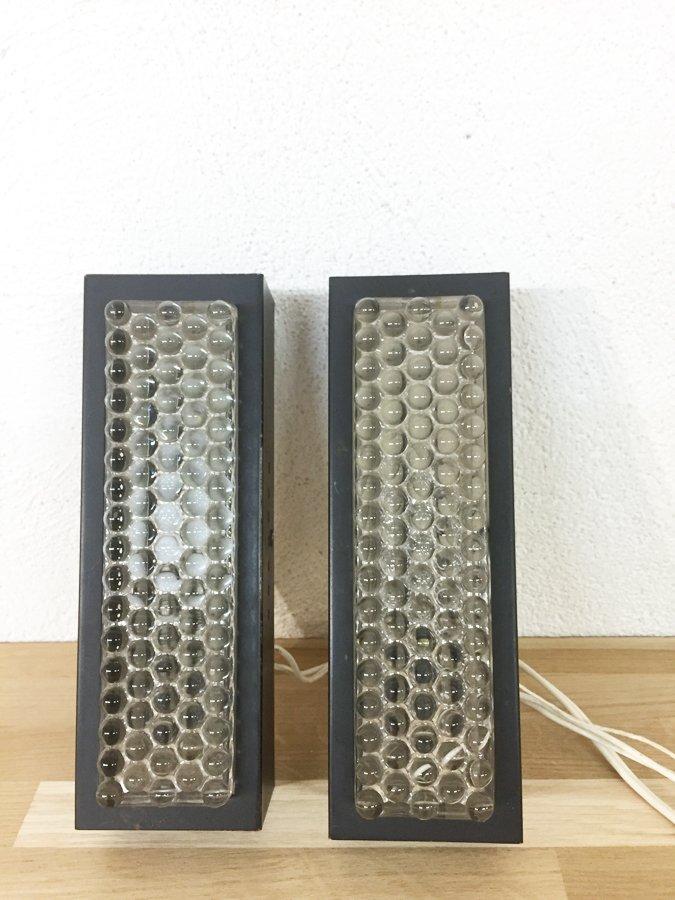 Rechteckige Metall & Glas Wandleuchten, 1970er, 2er Set