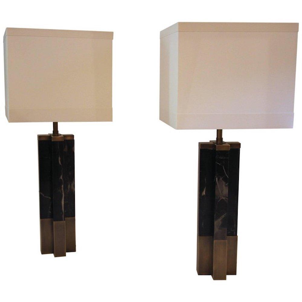 Marmor & Messing Tischlampen, 1970er, 2er Set