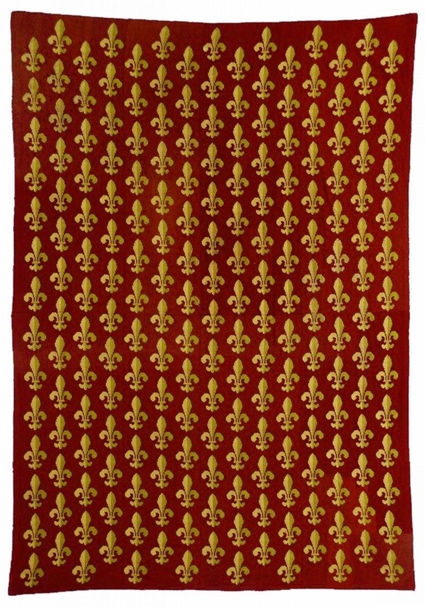 tapis antique en laine rouge fleur de lis france 1870s - Tapis Fleur