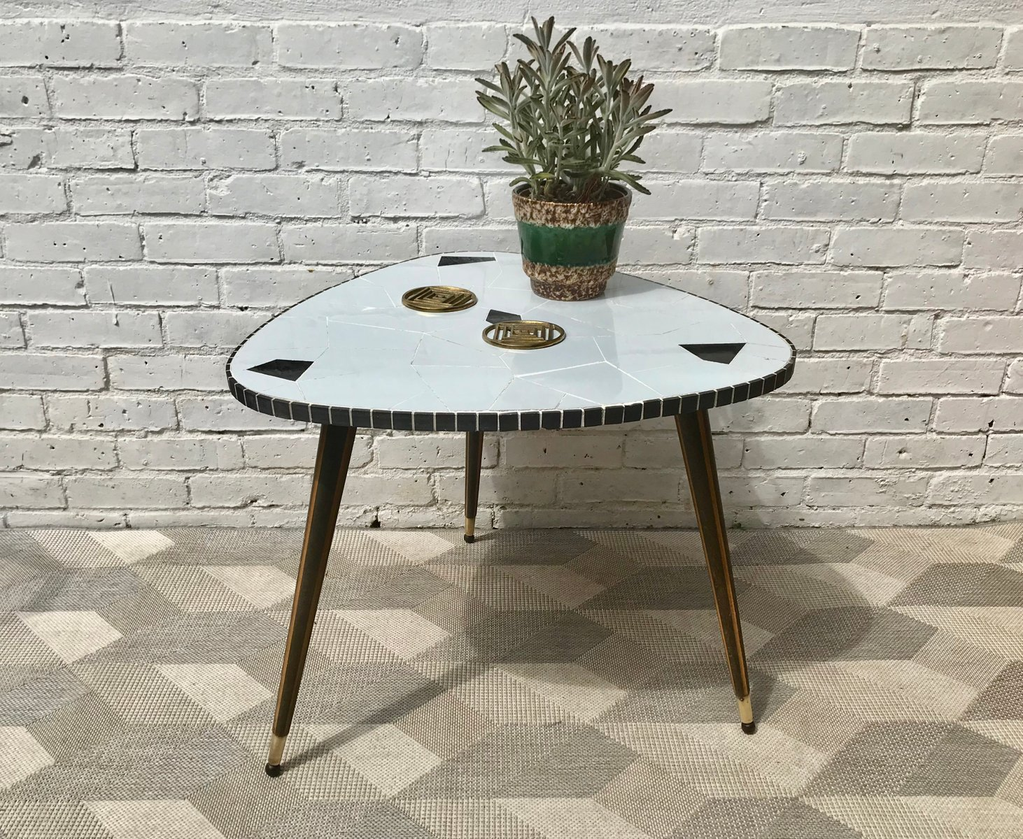 MidCentury Tiled Triangle Side Or Coffee Table S For Sale At - Mid century triangle coffee table