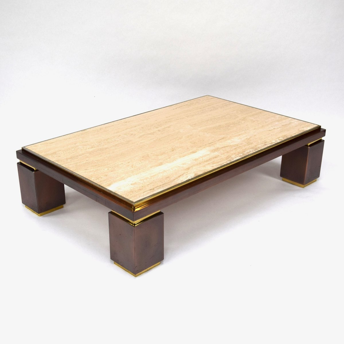 Travertine Coffee Table From Belgo Chrom, 1970s For Sale