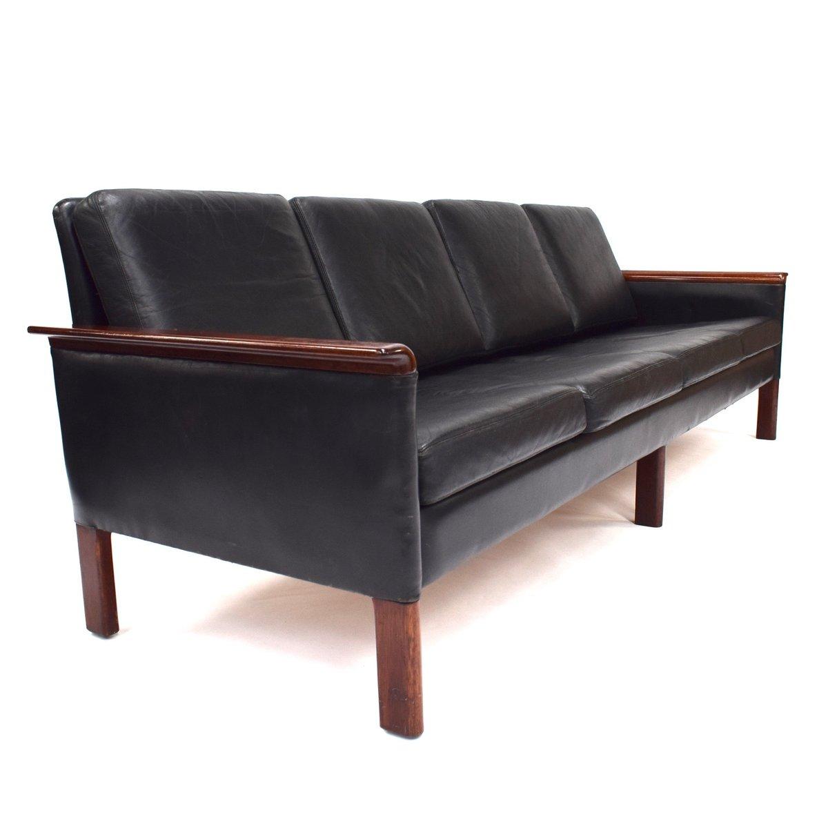 Scandinavian Black Leather Sofa 1950s