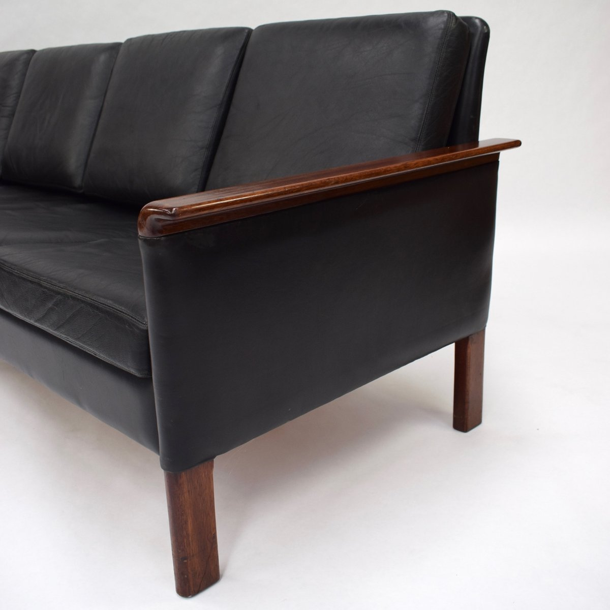 Leather Sofas For Sale In Northern Ireland: Scandinavian Black Leather Sofa, 1950s For Sale At Pamono