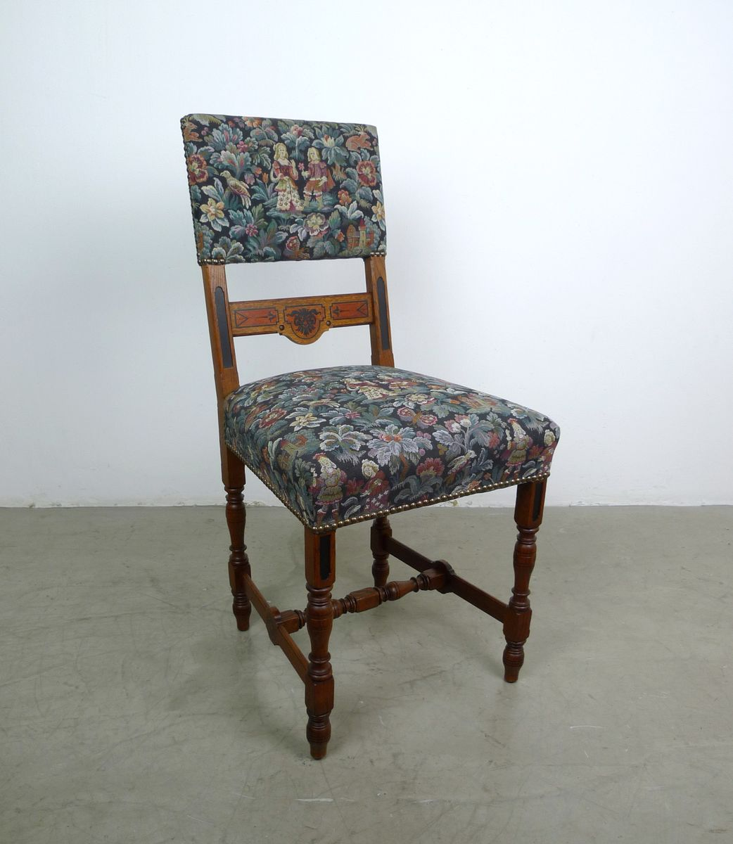 Antique German Oak Dining Chairs, Set of 6 for sale at Pamono