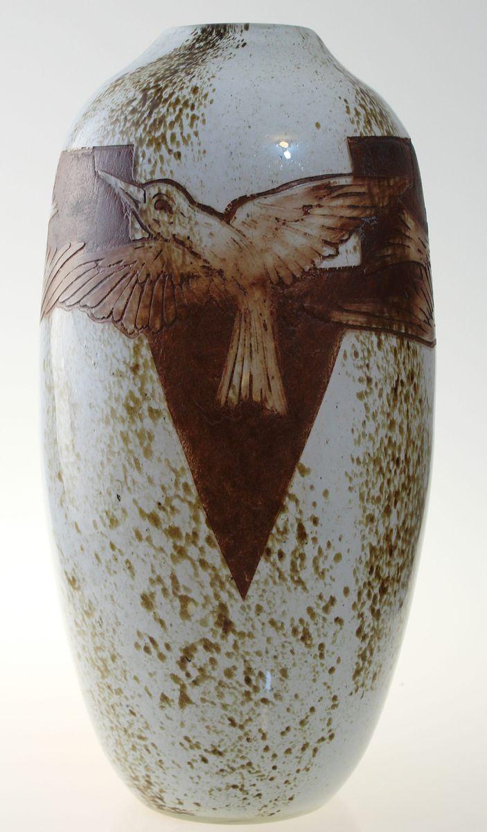 grand vase antique art deco en verre par th odore legras. Black Bedroom Furniture Sets. Home Design Ideas