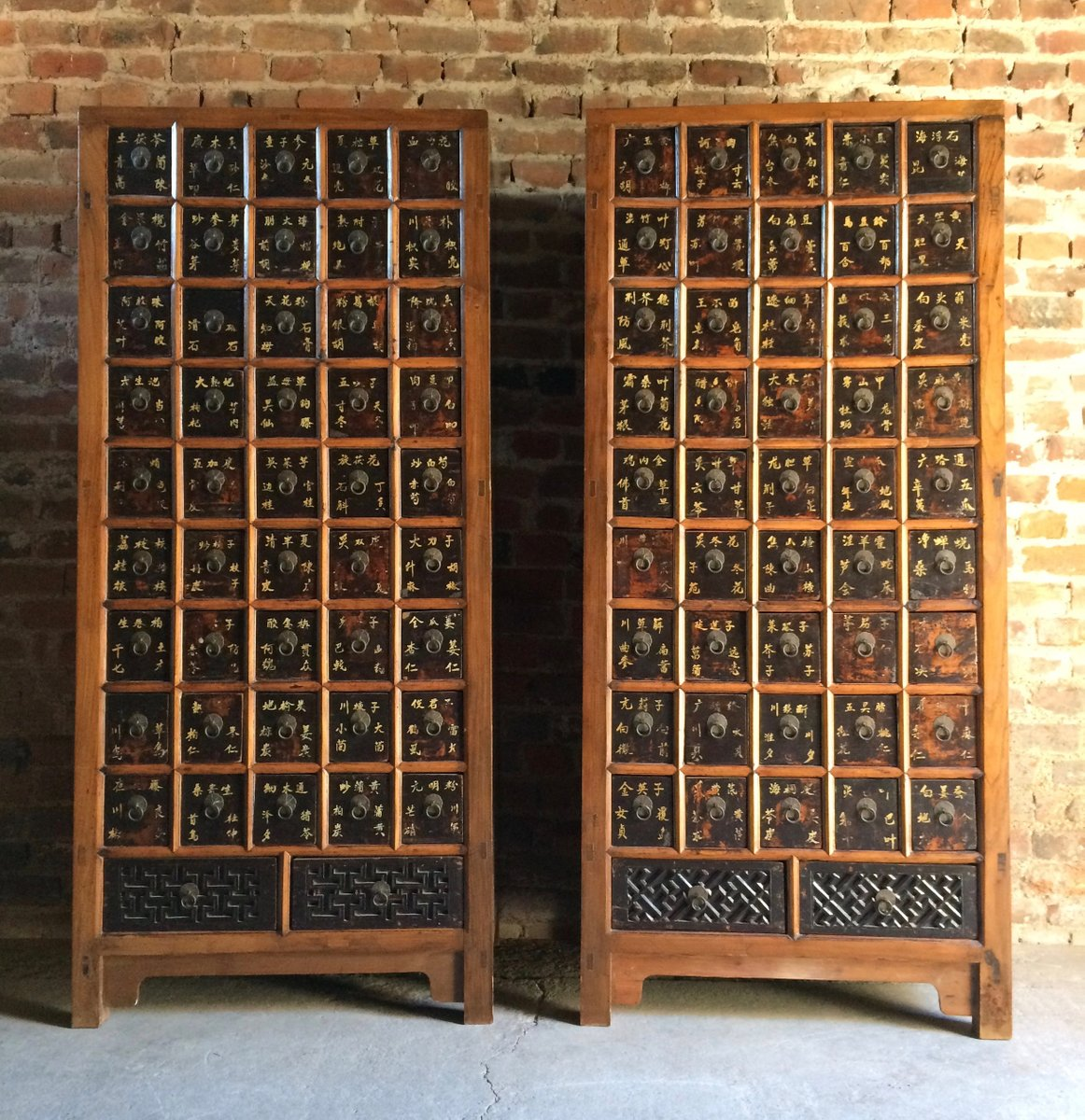 Antique Elm Apothecary Cabinets, 1871, Set Of 2