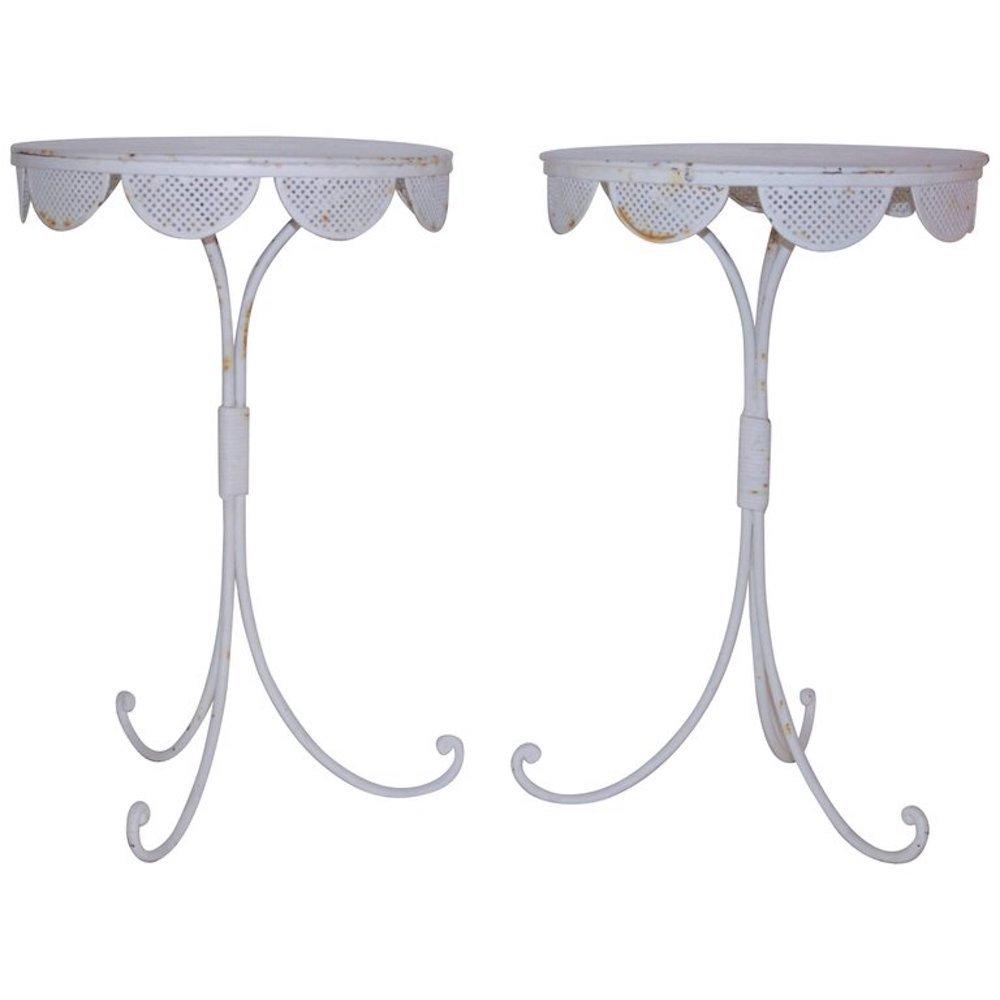 Kleine weiß lackierte französische Säulentische aus Eisen, 1960er, 2er...
