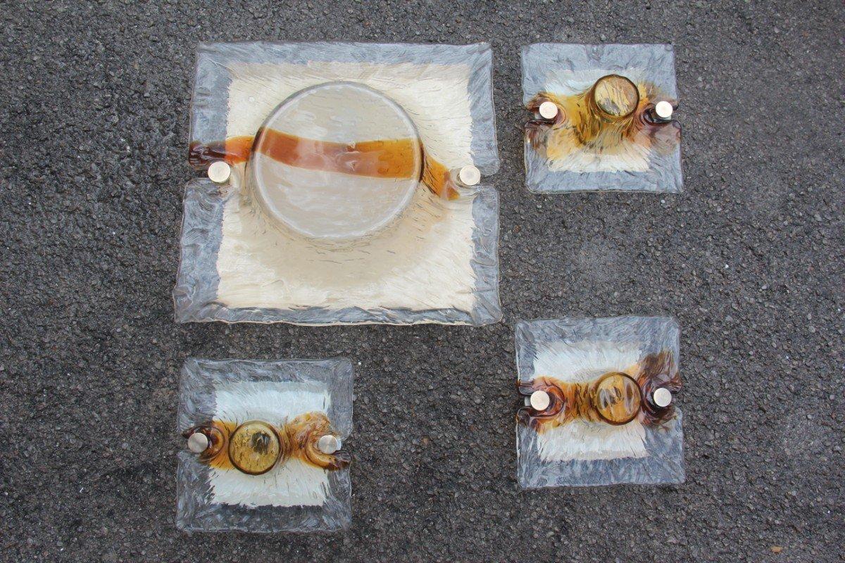 Applique quadrate in vetro di murano di toni zuccheri per venini