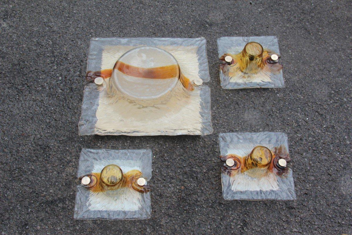 Quadratische Murano Glas Wandleuchten von Toni Zuccheri für Venini, 19...