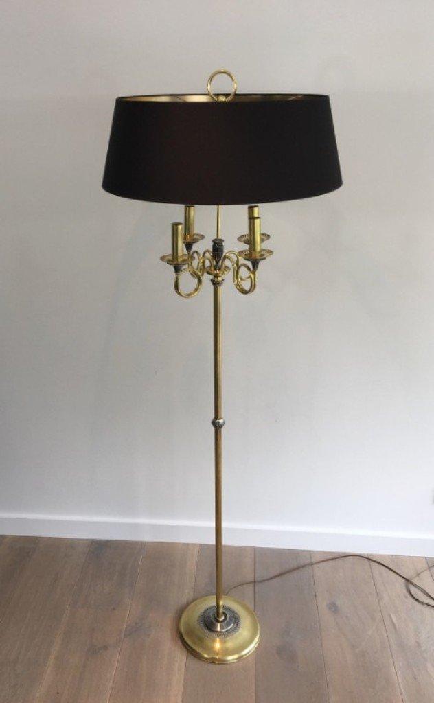 Neoklassizistische Stehlampe aus gebürsteter Stahl und Messing, 1940er