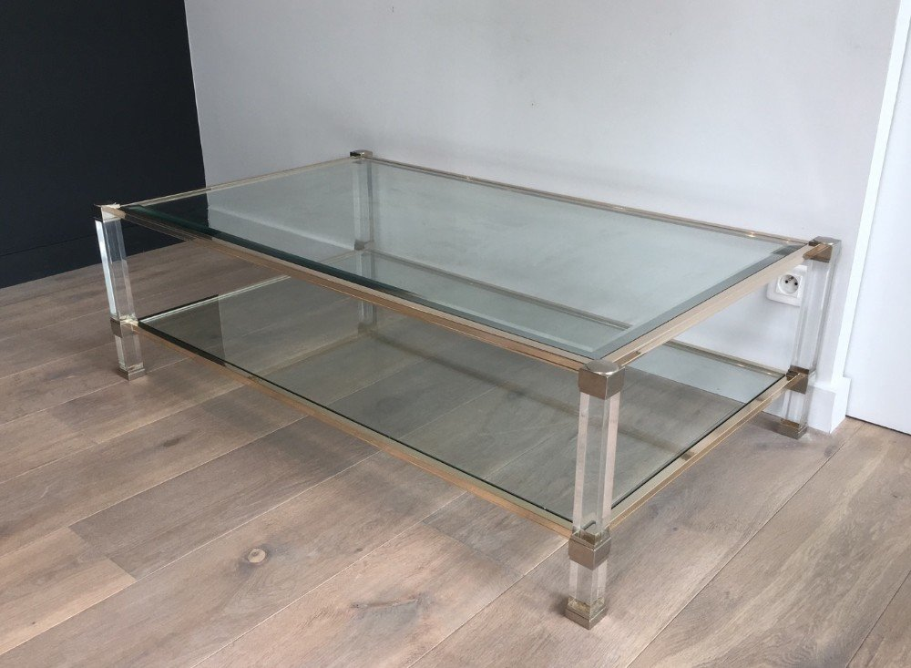 Large Lucite and Chrome Coffee Table, 1970s for sale at Pamono