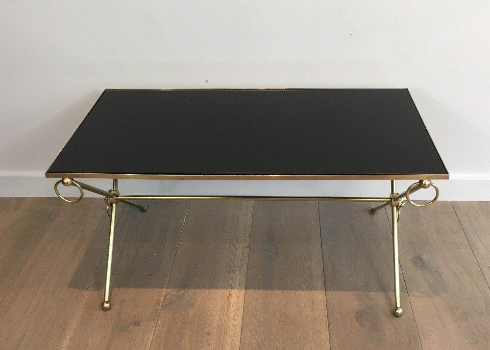 messing couchtisch mit l wenk pfen schwarz lackierter platte von maison jansen 1940er bei. Black Bedroom Furniture Sets. Home Design Ideas