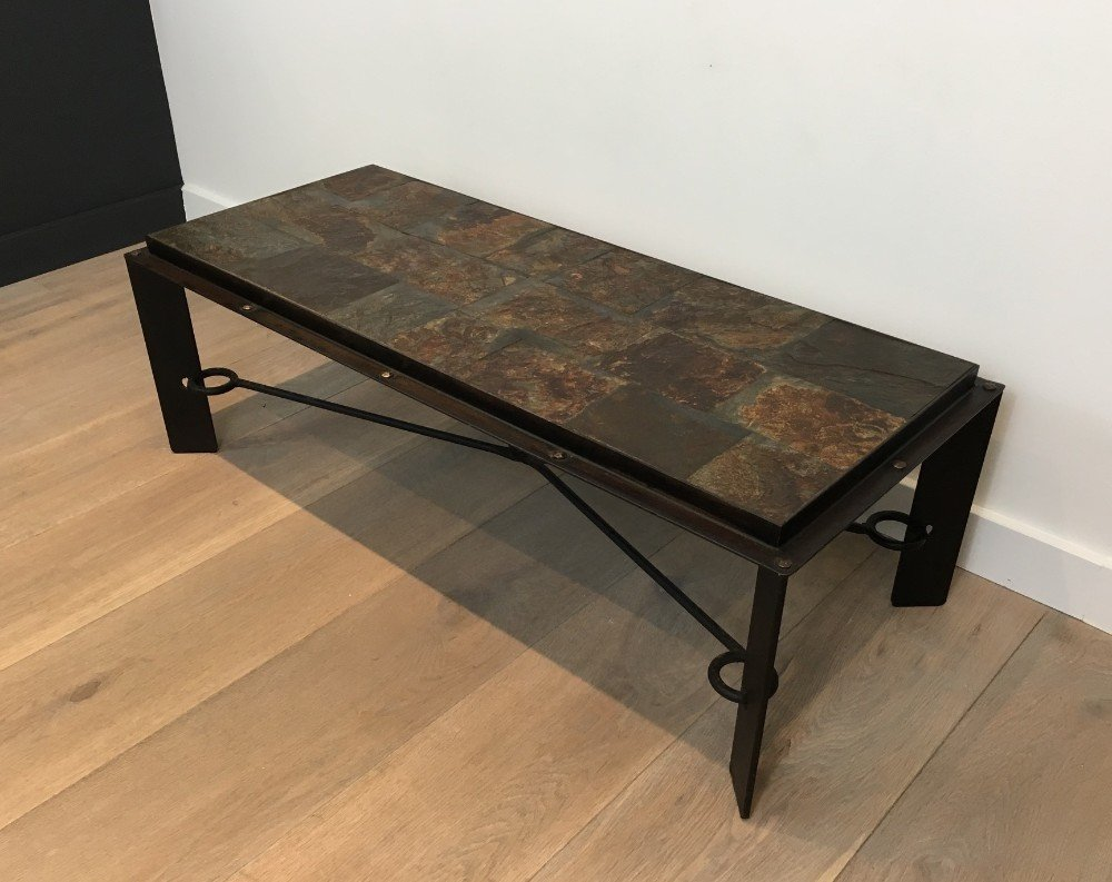 Steel and iron coffee table with lava stone top 1940s