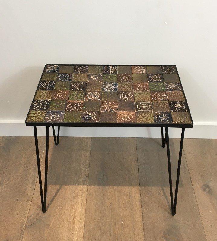 kleiner couchtisch in schwarzer lackierung und keramik 1970er bei pamono kaufen. Black Bedroom Furniture Sets. Home Design Ideas