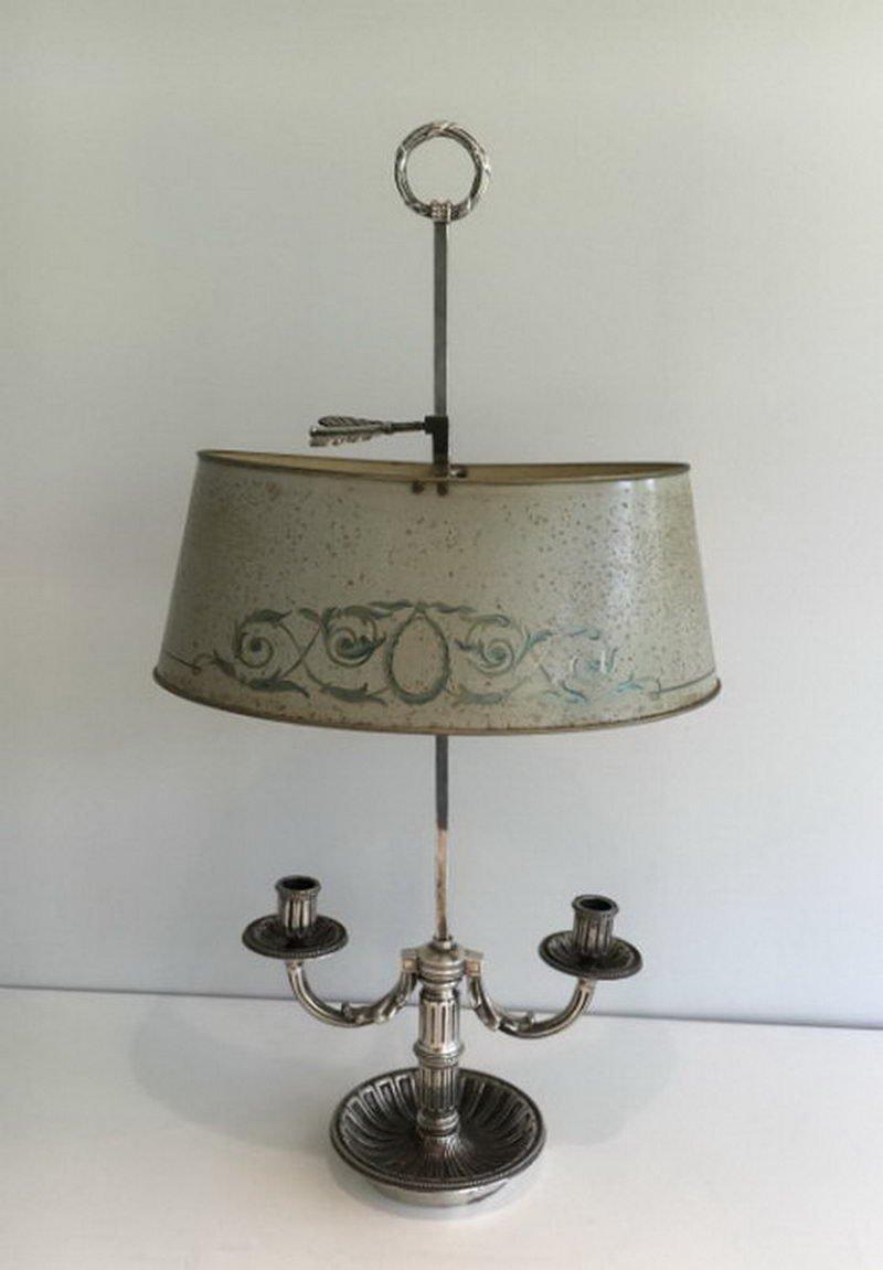 Bouillotte Lampe mit emailliertem Schirm, 1900er