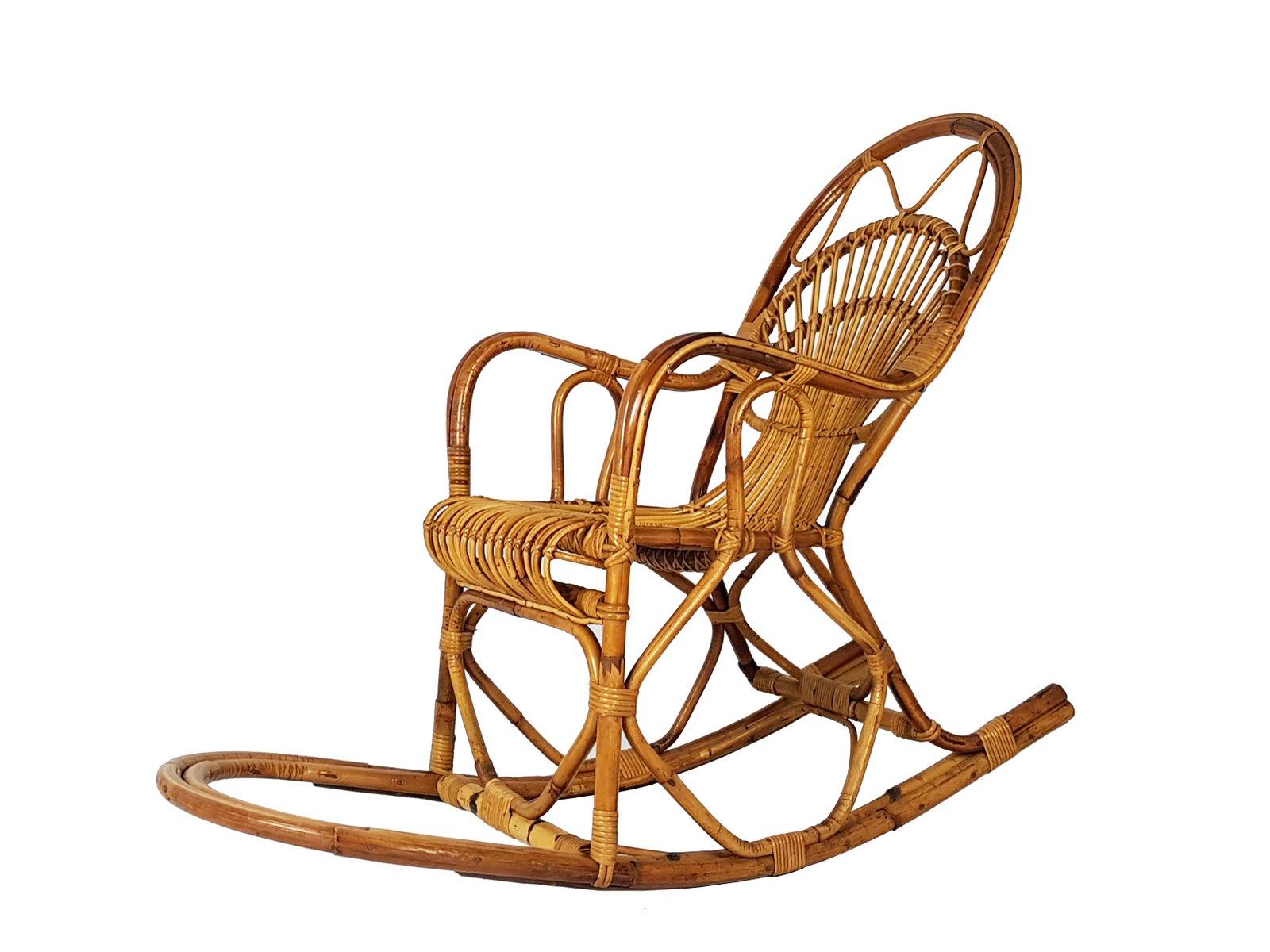 rocking chair vintage en osier de bonacina italie 1960s. Black Bedroom Furniture Sets. Home Design Ideas